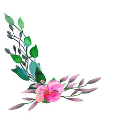Watercolor wreath with eucalyptus leaves and flowers.