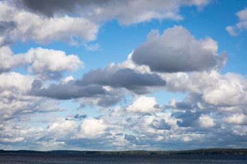 Lake landscape and cloudy sky
