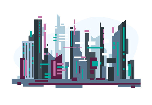 Futuristic abstract city with big buildings, neon signs. Rectangular shapes and simple forms. Flat style line vector illustration. Business city center with futuristic skyscrapers.