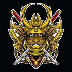 Gold Samurai mask., tattoo concept.