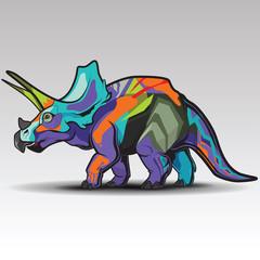 Triceratops Dinosaur Prehistoric Reptile Species., Graffiti Concept.