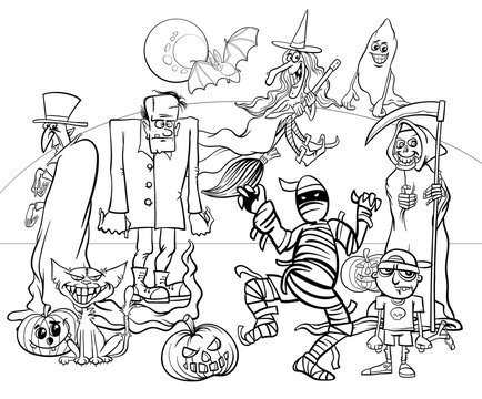 Halloween holiday cartoon spooky characters coloring book