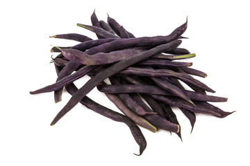 Pile of purple string beans isolated