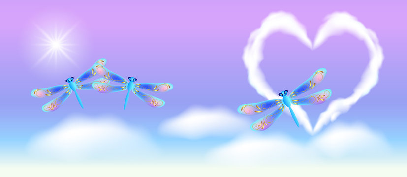 Cloud heart in the sky and fantasy transparent dragonfly with golden ornament
