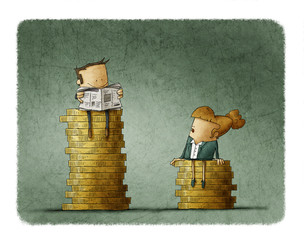 Gender wage difference concept. Illustration man and a woman sitting on top of a pile of coins.