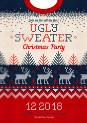 Ugly sweater Christmas party invite, knitted background pattern scandinavian ornaments