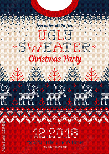 Christmas Sweater Background.Ugly Sweater Christmas Party Invite Knitted Background