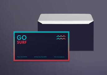 Envelope Layout Set with Surfboard And Wave Elements