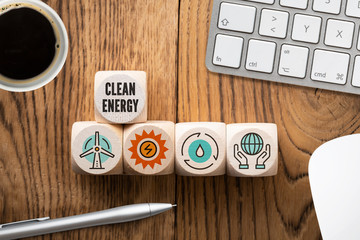 Cubes with symbols for clean energy