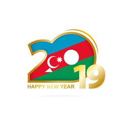 Year 2019 with Azerbaijan Flag pattern. Happy New Year Design.