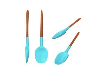kitchen spoon silicone set 3d render on white