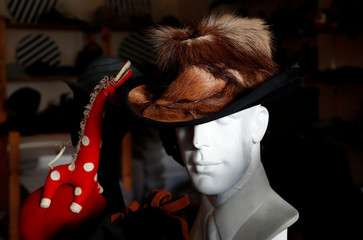 A hat created by Belgian designer Elvis Pompilio is pictured in his workshop in Brussels