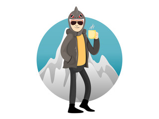 The handsome man wearing the winter coat with a shark head hat and holding a coffee cup with a circle of mountain background.