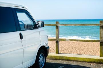 T4 van overlooking the sea at West Bexington, Dorset