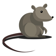 Cartoon simple gray mouse with a long tail.