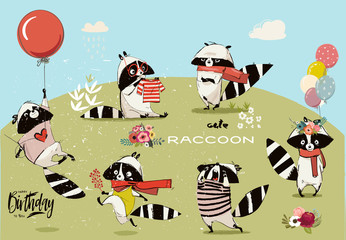 Wall Mural - Little raccoons collection