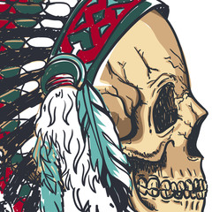 Dotwork style skull with indian feather hat. Grunge vector art.