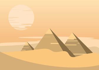pyramids scene vector illustration