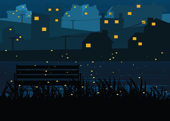 city riverside at nights backgrounds vector illustration