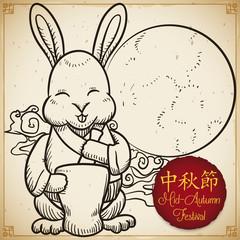 Smiling Rabbit and Full Moon Celebrating Mid-Autumn Festival, Vector Illustration