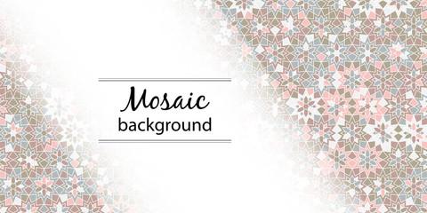 Arabic girih design background for Ramadan Kareem. Islamic ornamental colorful detail of mosaic. Greeting Ramadan card