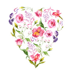 watercolor drawings of summer flowers, a heart