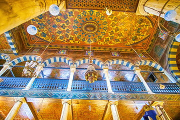 The painted ceiling of Ben Ezra Synagogue in Cairo, Egypt