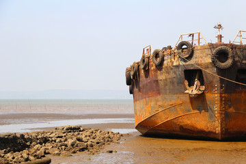 An old Shipwreck at the beach