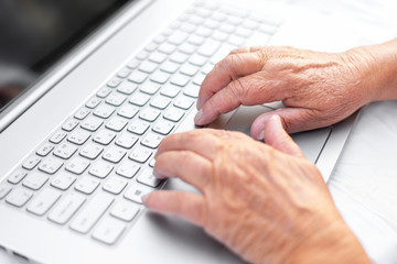 hands of an old woman on the keyboard, grandmother at the laptop, the development of technology
