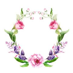 watercolor drawings of summer flowers, a wreath