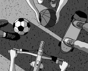 Various street sports skateboarding basketball Cycling football top view grayscale