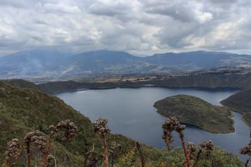 Views on the hike around vulcano lake cuicocha close to otavalo, ecuador