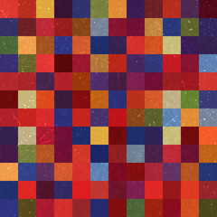 Vintage seamless abstract background with colorful squares, vector illustration