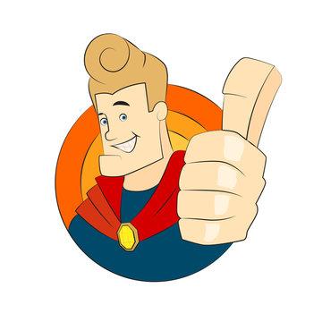 Superhero character thumb up illustration for digital and print