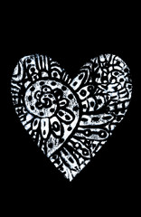 White Hand printed decorative ornamental heart on black background. For greeting cards, designs, invitations
