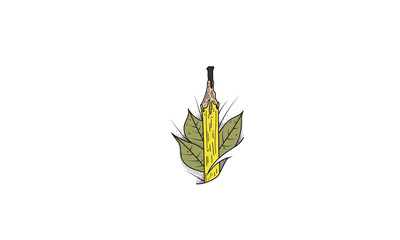 Pencil and Leaves