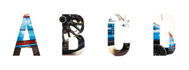 Automotive font Alphabet a, b, c, d made of modern blue car with Precious paper cut shape of letter. Collection of industry font for your unique decoration & many concept idea. Automotive concept