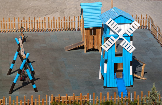 Modern playground with a decorative danish mill.Playground at the Black Sea coast in Nessebar, a famous city near Sunny Beach resort, Bulgaria