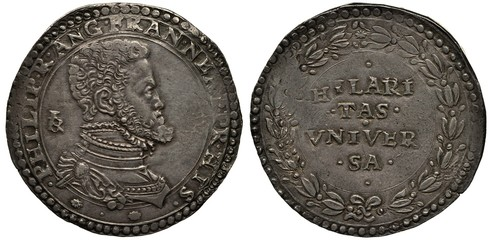 Italy Italian Naples and Sicilia silver coin 1 one ducato 1554-1556, ruler Philip, bust in rich clothes right, motto within circular wreath,
