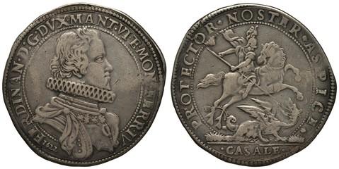 Italy Italian Mantua silver coin 1 one ducaton 1622, ruler Ferdinando Gonzaga, bust in rich clothes right, Saint George on horse killing dragon with spear,