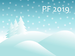 christmas winter landscape with snow covered hills and spruce tree with falling snow balls and text sign PF 2019. new year vector greeting card