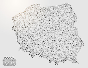 A map of Poland consisting of 3D triangles, lines, points, and connections. Vector illustration of the EPS 10.
