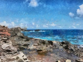 Oil painting. Art print for wall decor. Acrylic artwork. Big size poster. Watercolor drawing. Modern style fine art. Beautiful exotic tropical landscape. Stone coast of resort. Blue sky. Azure water.