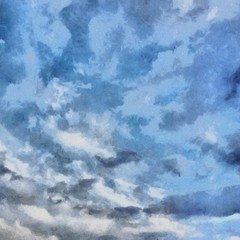 Oil painting. Art print for wall decor. Acrylic artwork. Big size poster. Watercolor drawing. Modern style fine art. Beautiful sky landscape. Blue clouds.