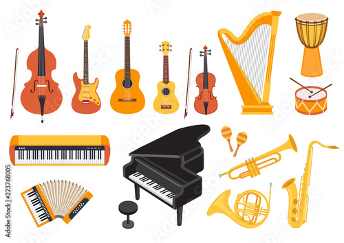 Big musical instruments set isolated on white background