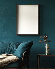 Wall Mural - Mock-up frame in dark green home interior with sofa, fur, table and branch in vase, 3d render