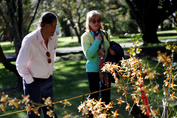 Attendees observe orchids during the National Orchid Exhibition at the Jose Celestino Mutis Botanical Garden in Bogota