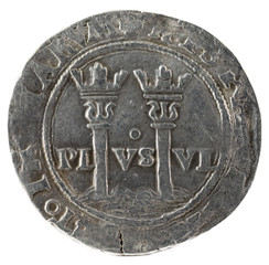 Ancient Spanish silver coin of the Kings Juana and Carlos. Coined in Mexico. Real. Reverse.