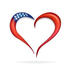 Logo love heart USA flag icon symbol vector