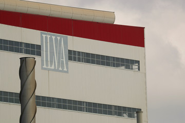 The ILVA logo is seen at the company's steel plant in Taranto